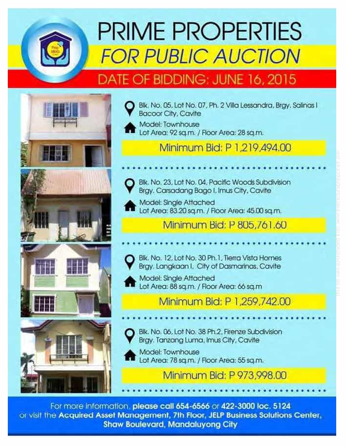 Public Auction Of Pag-IBIG Foreclosed Properties In Cavite Slated On June 16, 2015