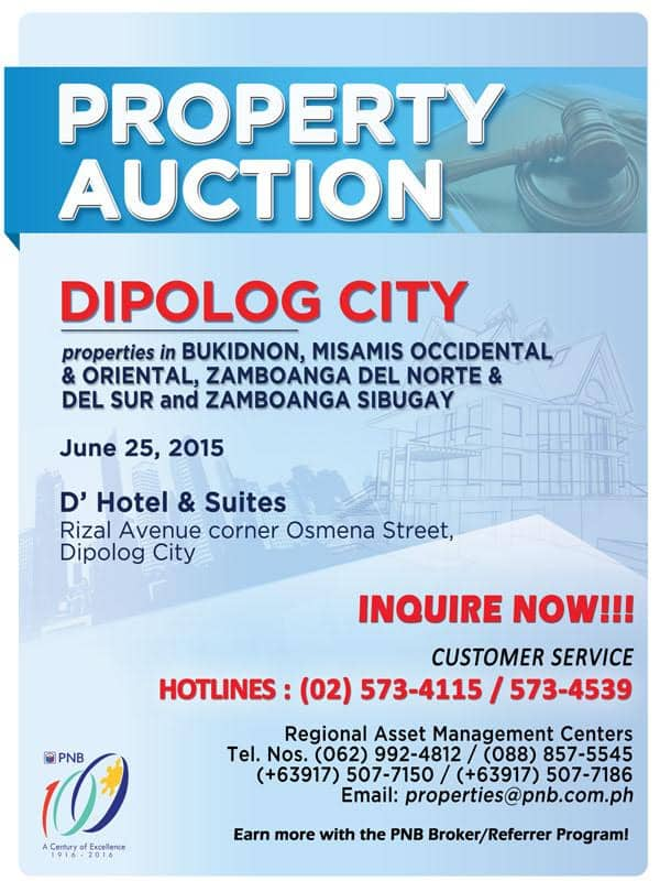 PNB Foreclosed Properties Auction In Dipolog City Slated On June 25, 2015