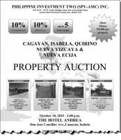 Cagayan Valley Foreclosed Properties Auction by Philippine Investment Two Slated On October 10, 2015