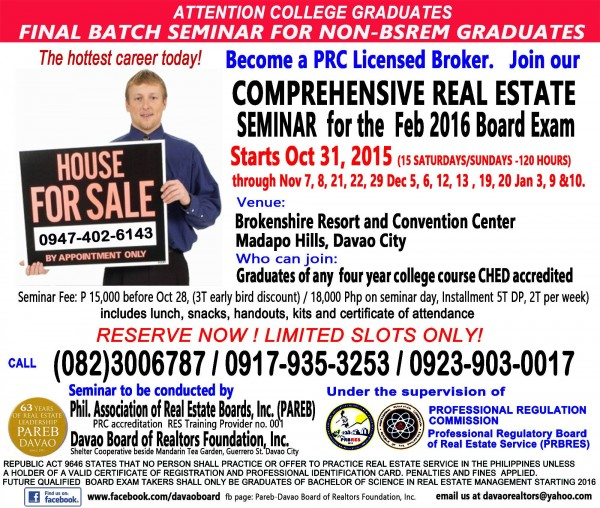 PAREB DAVAO 2016 Real Estate Brokers' Exam Review