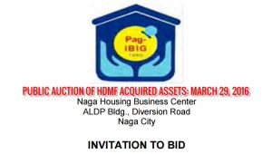 Public Auction of Pag-IBIG Foreclosed Properties in Albay, Camarines, Sorsogon, and Catanduanes slated on March 29, 2016