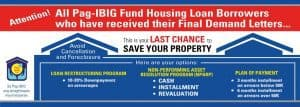 Avoid the cancellation and foreclosure of properties under Pag-IBIG housing loans