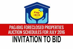 More than 2,000 Pag-IBIG foreclosed properties scheduled for public auction this July 2016