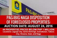 Pag-IBIG Naga to dispose Foreclosed Properties via sealed public auction on August 24, 2016