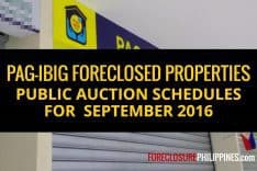 (Final update) 2,740 Pag-IBIG foreclosed properties scheduled for public auction on September 2016