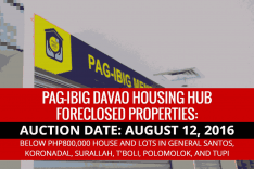 Davao Housing Hub to conduct Public Auction of Pag-IBIG Foreclosed Properties on August 12, 2016