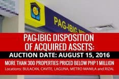 Pag-IBIG NCR to dispose Acquired Assets via sealed public auction on August 15, 2016