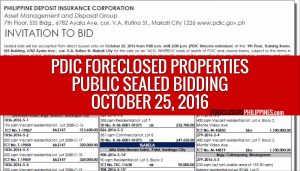 Public Auction of PDIC foreclosed properties slated on October 25, 2016