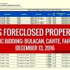 Public Bidding of GSIS Foreclosed Properties slated on December 13, 2016
