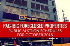 1,584 Pag-IBIG foreclosed properties scheduled for public auction on October 2016