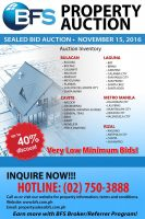 BFS Foreclosed Properties Auction Slated on November 15, 2016 (up to 40% discount!)