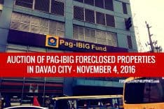 Pag-IBIG to dispose Foreclosed Properties in Davao City via Public Auction on November 4, 2016