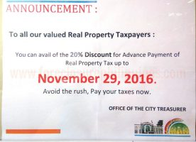 Get Up To 20% Discount On Real Property Tax (Amilyar) In Las Pinas And Paranaque By Paying Early
