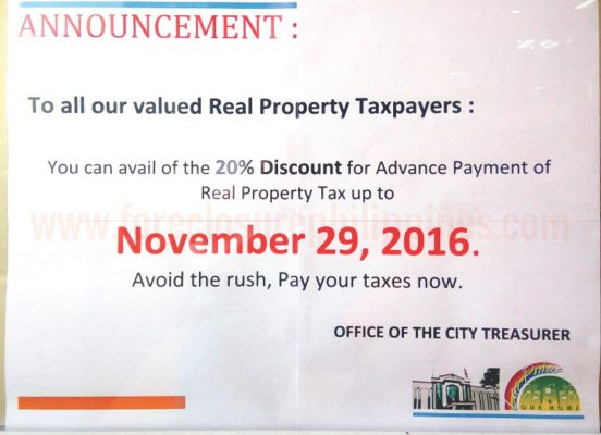Announcement posted at the Las Pinas City Hall. NOvember 29, 2016 is the dealine to avail the 20% advanced payment discount on real property tax.