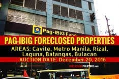 Auction of 407 Pag-IBIG Foreclosed Properties in Cavite, NCR, Rizal, Laguna, Batangas, Bulacan, slated on December 20, 2016