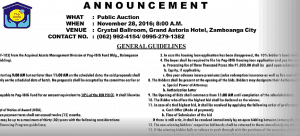 Pag-IBIG Foreclosed Property Auction in Zamboanga City Slated on November 28, 2016, plus more updates