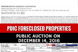 PDIC foreclosed properties auction slated on December 14, 2016