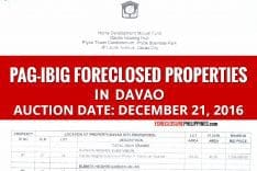 Another Public Auction of Pag-IBIG Foreclosed Properties in Davao slated on December 21, 2016