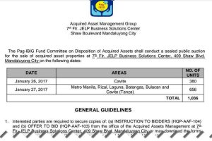 Additional 1,036 Pag-IBIG Foreclosed Properties For Public Auction On January 26-27, 2017