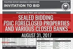 More than 100 PDIC foreclosed properties slated for public auction on August 31, 2017