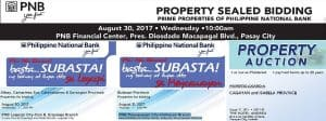 177 PNB Foreclosed Properties slated for public auction on August 30-31, 2017