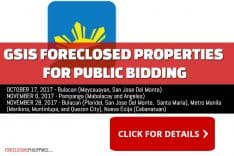 125 GSIS Foreclosed Properties scheduled for sale in 3 public biddings for October and November 2017