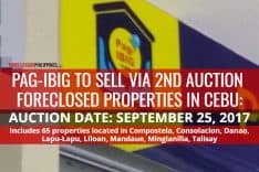 Pag-IBIG Cebu to sell additional 65 Foreclosed Properties via 2nd auction on September 25, 2017