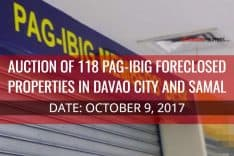 Auction of 118 Pag-IBIG foreclosed properties in Davao City and Samal (IGaCoS) slated on October 9, 2017