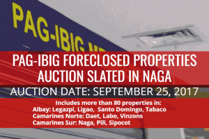 Pag-IBIG Naga to auction more than 80 foreclosed properties on September 25, 2017 (with Discount)
