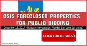35 GSIS Foreclosed Properties scheduled for sale via public bidding on December 19, 2017