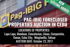 (Second Update) 1,305 Pag-IBIG Foreclosed Properties slated for auction in October 2017