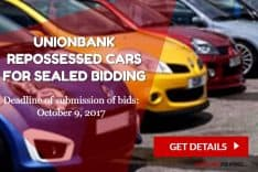 UnionBank repossessed cars sealed bidding slated on October 9, 2017
