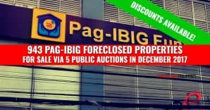 943 Pag-IBIG Foreclosed Properties scheduled for public auction in December 2017 (Discounts available)