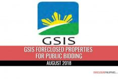 121 GSIS Foreclosed Properties scheduled for sale via 4 public biddings in August 2018