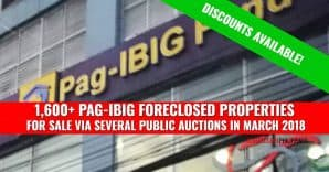 1,718 Pag-IBIG Foreclosed Properties for auction in March 2018