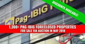 (2nd update)1,395 Pag-IBIG Foreclosed Properties for auction in May 2018