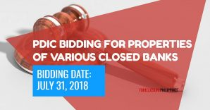 Bidding for 58 PDIC foreclosed properties and various closed banks slated on July 31, 2018