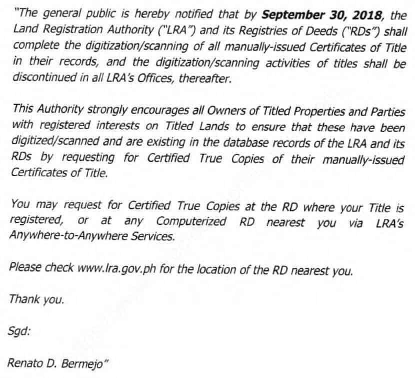 Excerpt of LRA notice published last July 31, 2018