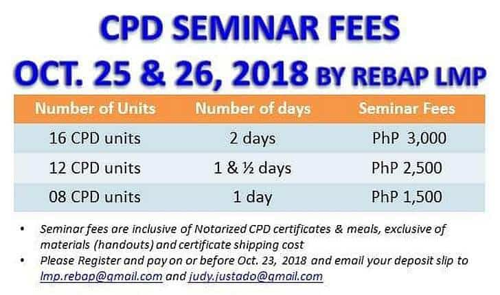 CPD Seminar fees, number of days, and corresponding number of CPD units
