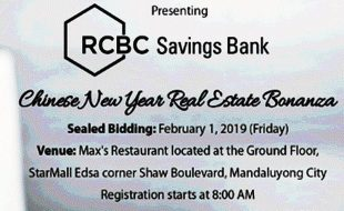 Sealed bidding of RCBC Savings Bank foreclosed properties slated on February 1, 2019