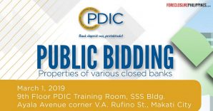 PDIC bidding for foreclosed properties and repossessed cars of various closed banks slated on March 1, 2019