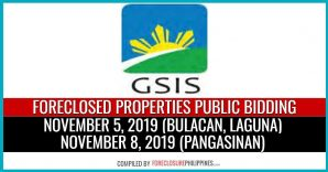 119 GSIS Foreclosed Properties in November 2019 public biddings