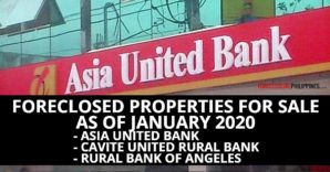 182 Asia United Bank Foreclosed Properties available in January 2020 listings (includes subsidiaries)
