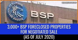 3,029 BSP foreclosed properties available for negotiated sale (July 2020)