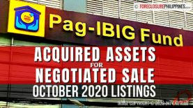 October 2020 Pag-IBIG Acquired Assets | 2,020 foreclosed properties available for negotiated sale